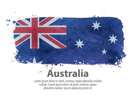 governmental: painted the Australian flag on a white background. vector illustration Illustration