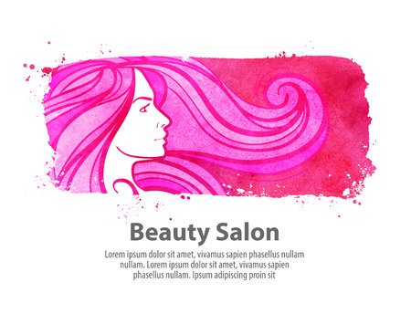 salon spa: young beautiful girl with long hair on white background. vector illustration Illustration