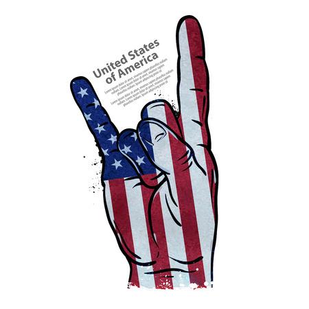 Vlag van de VS en met de hand gebaar op een witte achtergrond. vector illustratie