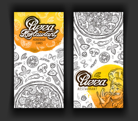 delicatessen: ingredients the pizza is hand-drawn. vector illustration