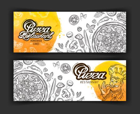 de pizza en de chef-kok met de hand getekend op een witte achtergrond Stock Illustratie