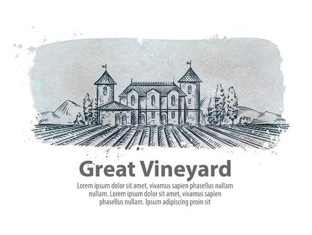 labranza: viñedo y el viejo castillo. ilustración vectorial Vectores