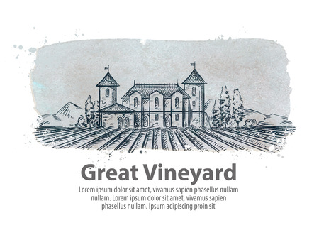 sowing: vineyard and the old castle. vector illustration