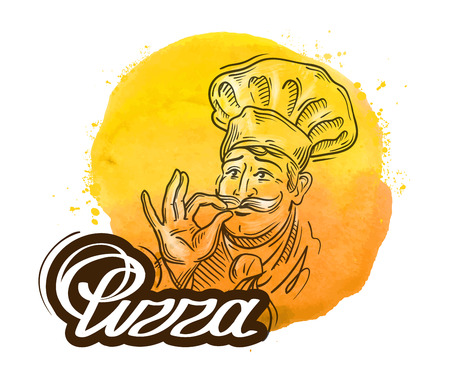 gusto: chef and pizza on a white background. vector illustration