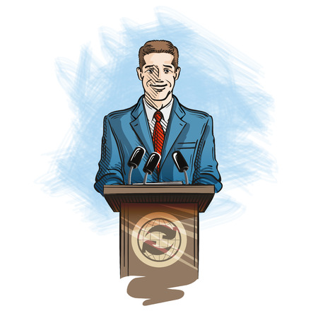 newscaster: Spokesperson speaking into microphones to reporters. Press and media conference Illustration