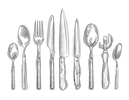 knife fork: kitchen utensils isolated on white background. vector illustration
