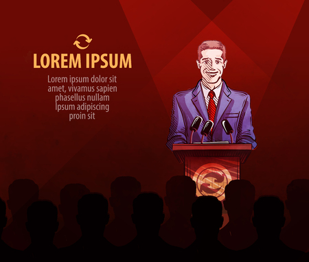 press conference: man behind the podium at a press conference. vector illustration