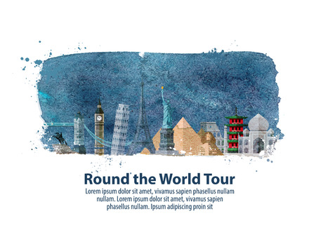 historic architecture of the world on white background. vector illustration
