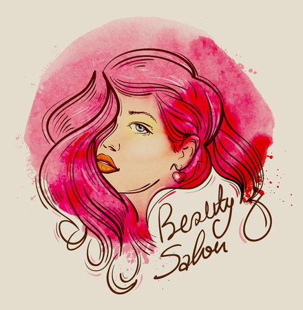 beauty icon: hand drawn beautiful young girl. vector illustration