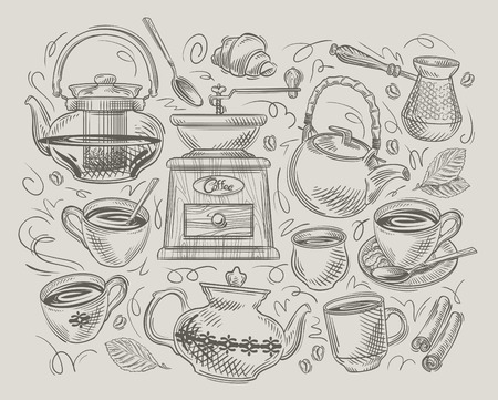 water basin: hand drawn sketch on the theme of food and coffee. vector illustration