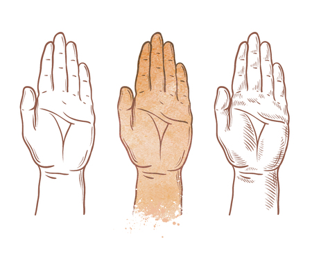 palmistry: hand up vector logo design template. chiromancy, palmistry or palm icon Stock Photo
