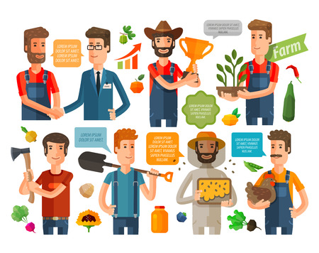 apiculture: farming, gardening icons set isolated on white background. vector illustration Illustration