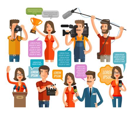 camara de cine: iconos de periodismo y televisión conjunto aislado sobre fondo blanco. ilustración vectorial Vectores