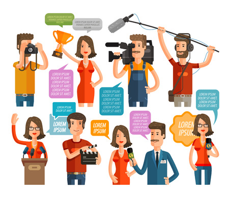 newsman: journalism and TV icons set isolated on white background. vector illustration Illustration