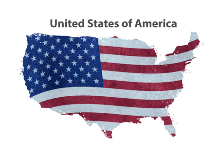 map of america: map of United States isolated on a white background. vector illustration Illustration