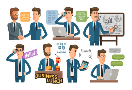 talks: businessman and business icons set isolated on white background. vector illustration