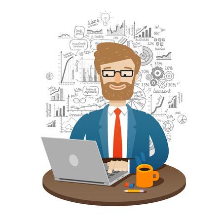 Geschäftsmann arbeitet am Computer isoliert auf weißem Hintergrund. Vektor-Illustration