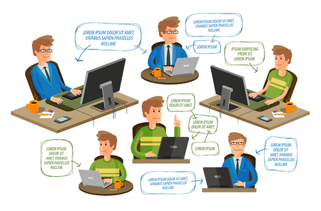 icono ordenador: iconos de negocios o de educación conjunto aislado sobre fondo blanco. ilustración vectorial