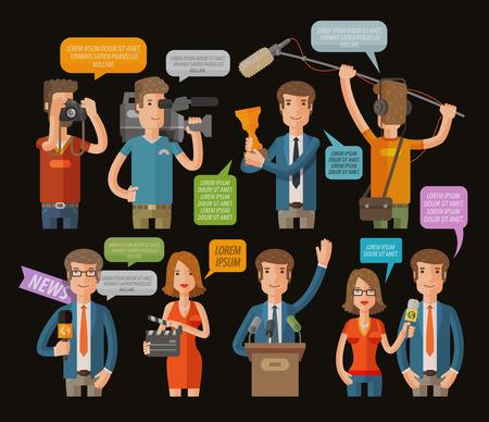 Televisión y periodismo de conjunto de iconos en el fondo oscuro. ilustración vectorial