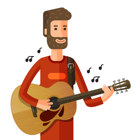 bard: musician playing guitar isolated on white background. vector illustration Illustration