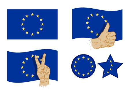 unification: flag of European Union isolated on white background. vector illustration Illustration