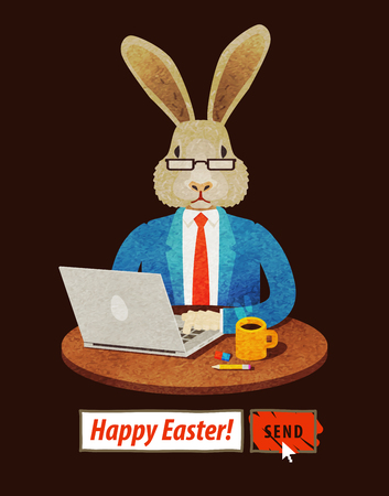 businesslike: Easter Bunny sends greetings on the Internet. vector illustration