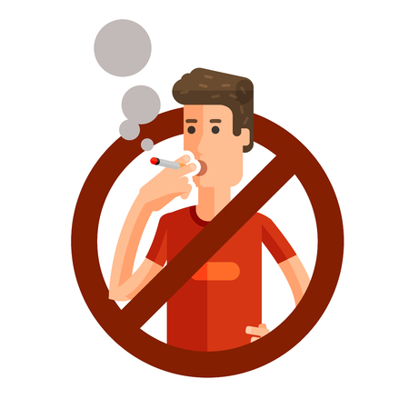 no smoking: man with a cigarette in his hand isolated on a white background. vector illustration