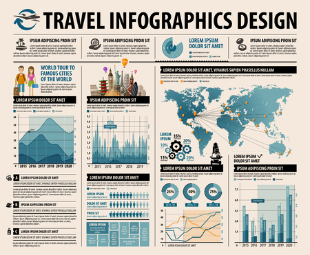 sightseeing tour: set of infographic elements for the theme journey. vector illustration