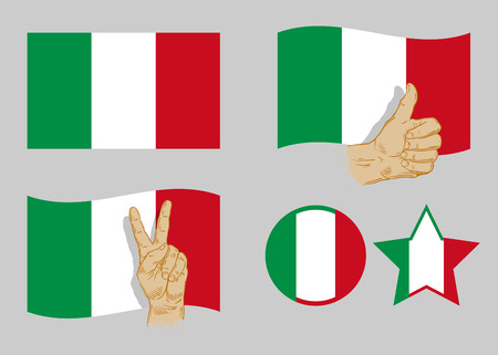star spangled: Italian flag collection icons on gray background. vector illustration