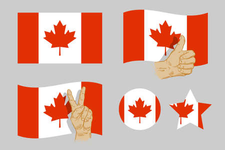red flag up: canadian flag collection icons on gray background. vector illustration