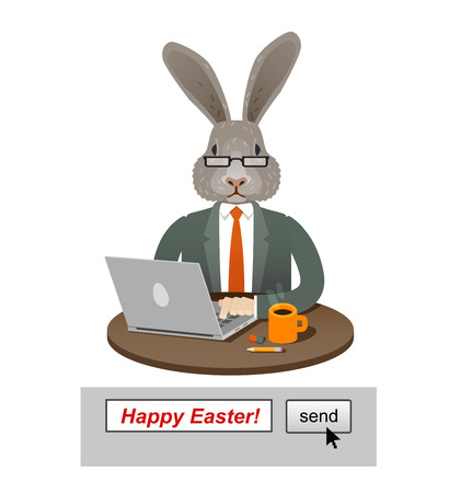 small business computer: Easter Bunny isolated on a white background. vector illustration Illustration