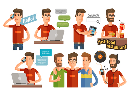 melomaniac: the modern lifestyle of young people icon set isolated on a white background. vector illustration