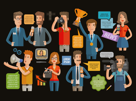 broadcasting: TV, broadcasting, journalism icons set. vector illustration