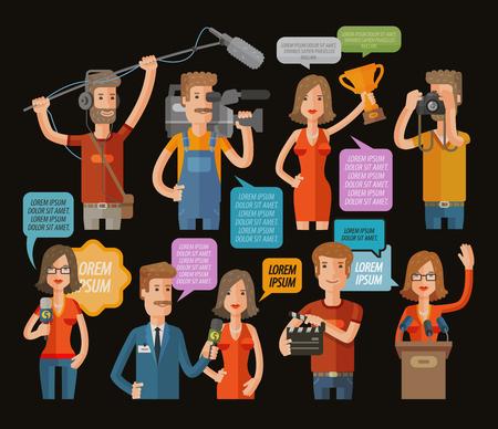 TV e la raccolta del giornalismo icona. illustrazione vettoriale