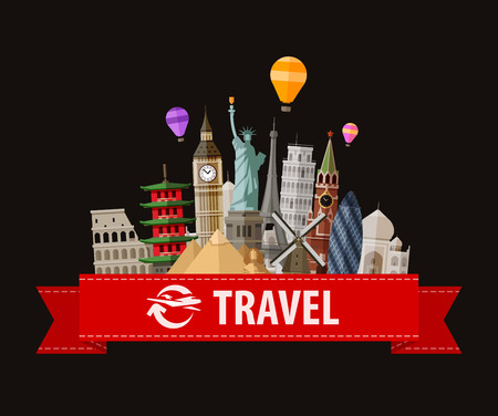 illustration journey: journey and the historical monuments of the world. vector illustration Illustration