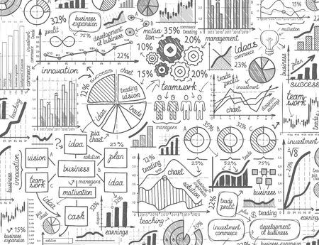 business graphs and diagrams isolated on white background. vector illustration Vettoriali