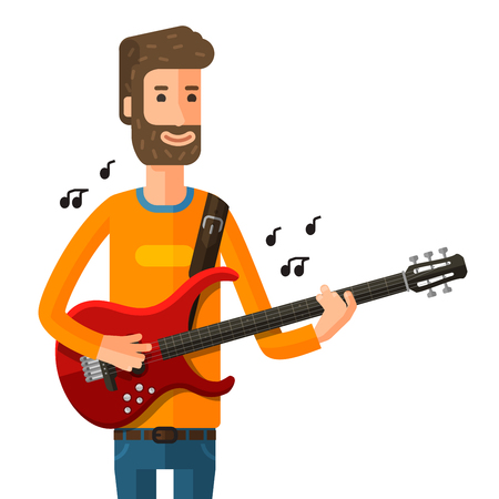 chanson: musician playing electric guitar isolated on a white background. vector illustration