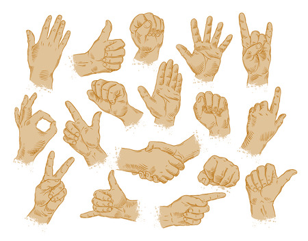 hand grip: hands icons set isolated on white background. vector illustration