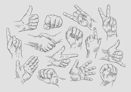 mani icons set su sfondo grigio. illustrazione vettoriale
