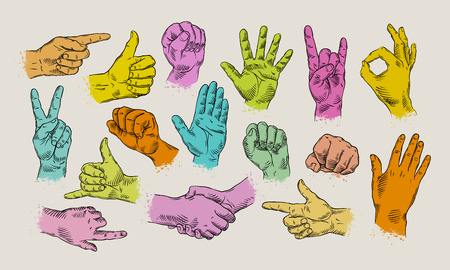 sign up: hands icon set on bright background. vector illustration