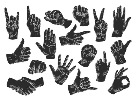 hand silhouette: silhouette hand symbol set isolated on white background. vector illustration Illustration