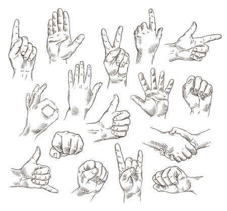 hand up: Vector set of hands and gestures - outline illustration