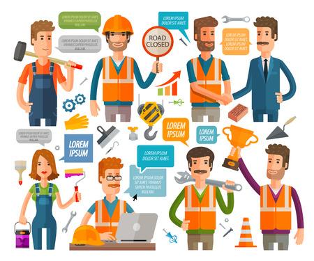 mecanica industrial: constructores y trabajadores de los iconos conjunto aislado sobre fondo blanco. ilustración vectorial