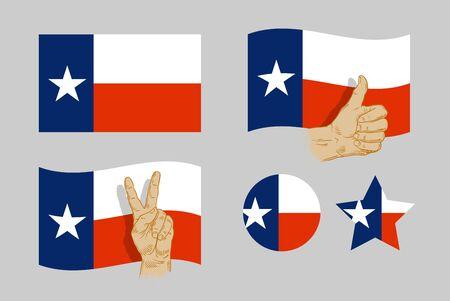 houston flag: Texas flag icons set on gray background. vector illustration Illustration