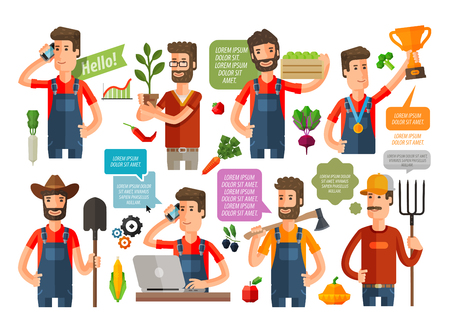 market gardening: farm and farming icons set isolated on white background. vector illustration