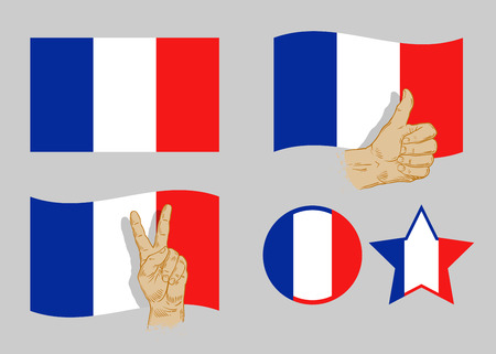 frenchman: flag of France icon set on grey background. vector illustration