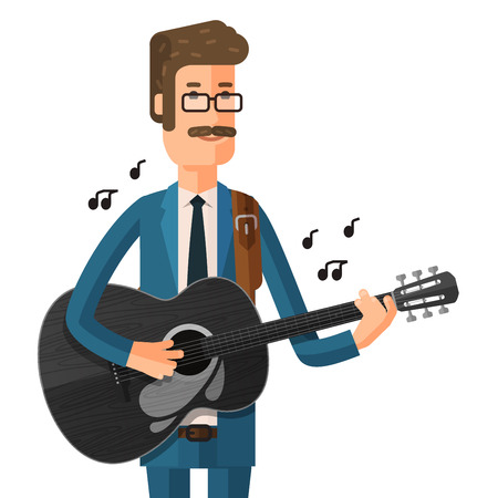 chanson: musician with guitar in hand isolated on white background. vector illustration