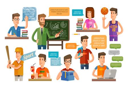 enseñanza: iconos de la educación conjunto aislado sobre fondo blanco. ilustración vectorial Vectores