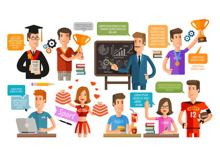 teacher and students: education, school isolated on a white background. vector illustration