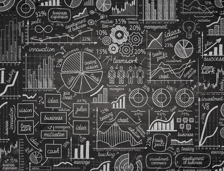 Grafieken en diagrammen met de hand op een zwarte achtergrond. Vector illustratie Stock Illustratie